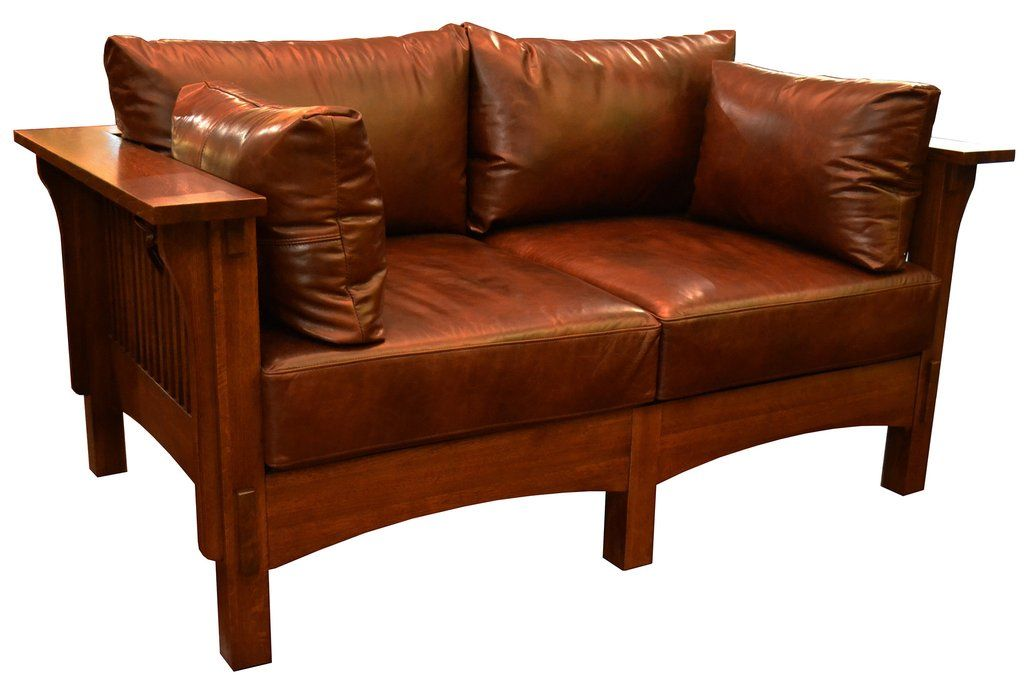 Mission Arts And Crafts Crofters Style Living Room Furniture With Spindle Sides Solid Quarter Sawn White Oak Wood Sofa Frame Brown Leather Cushions Soft