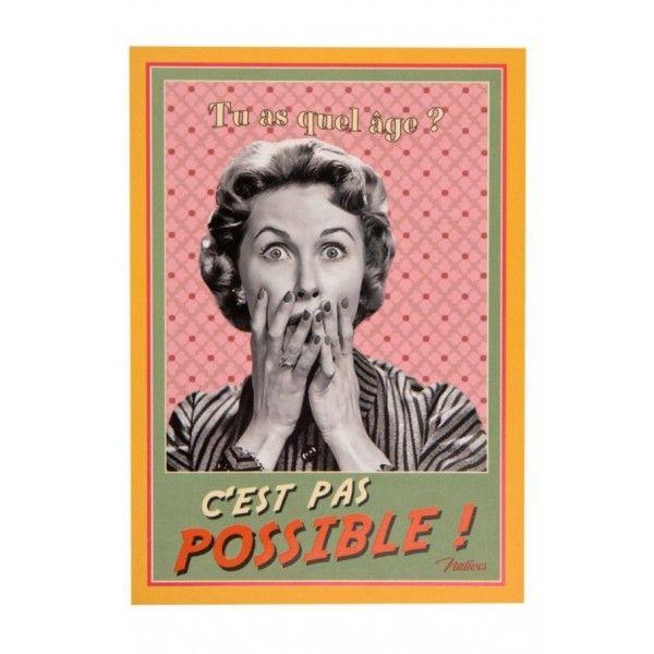 Dans Tes Reves Boutique Retro Deco Vintage Produits Natives Carte Postale Anniversaire Carte Postale Carte Anniversaire Drole