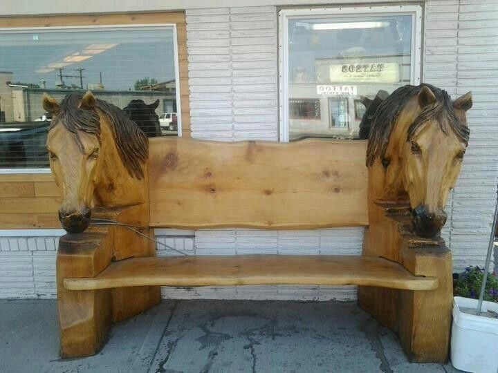 Horse Head Carved Bench Ranch House Decor Horse Decor Rustic Furniture