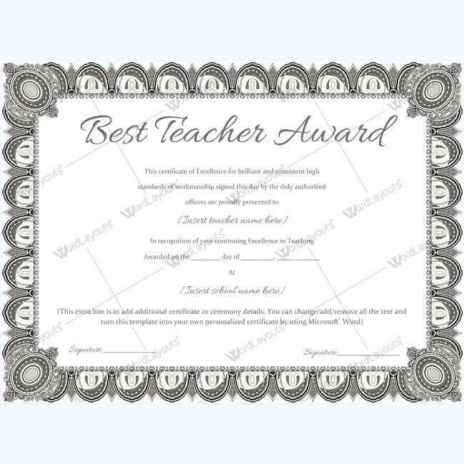 Best teacher award 08 certificate and teacher best teacher award 08 word layouts award certificatescertificate templatesbest yelopaper Images