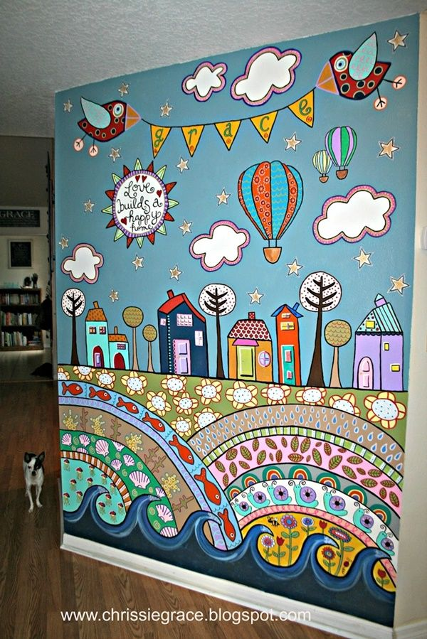 40 Elegant Wall Painting Ideas For Your Beloved Home Bored Art Playroom Mural Bedroom Wall Paint Mural Design