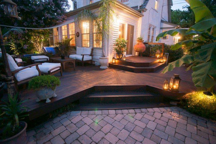 terassengestaltung ideen terrassengestaltung bilder holz terrassenbelag nachtbeleuchtung pflanzen