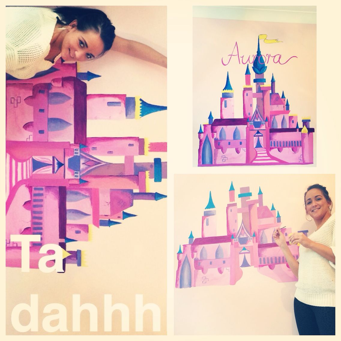 Girls princess castle wall mural designed and painted by Paula Marshall @unframedlondon (Instagram and Twitter)