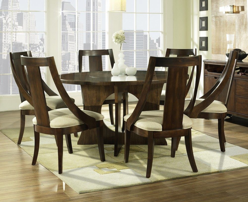 Inspired By Art Deco And Retro Designs, This Lovely Seven Piece Dining Set  Boasts Curved Lines, A Flush Lazy Suzan For Convenience, And A Beautiful  Warm ...