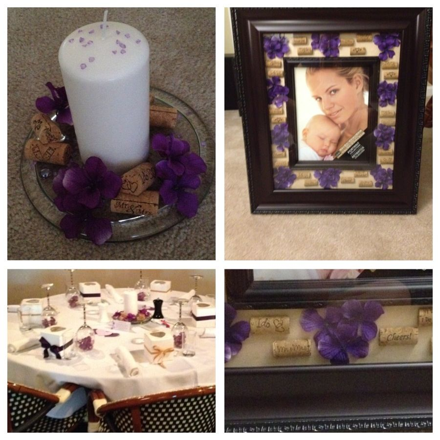 Wedding Cork Boutonniere: Wedding Gift- Picture Frame With Custom Corks And Purple