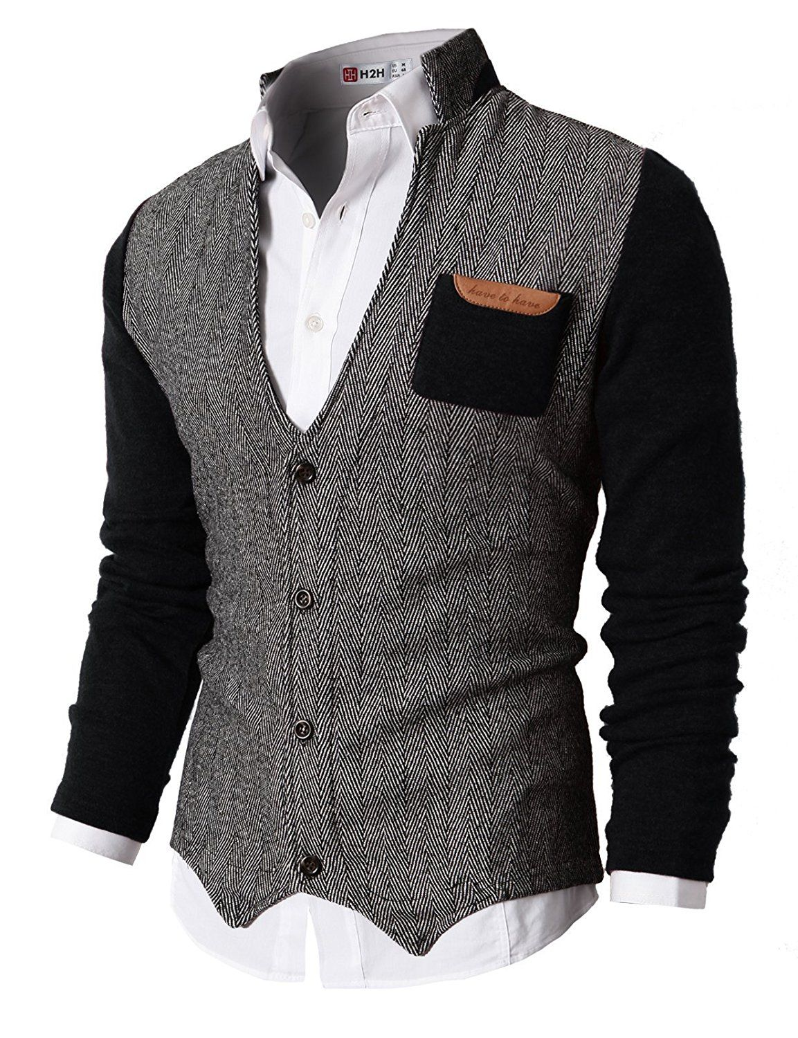 5c535891d5 H2H Mens Herringbone Cardigan Sweater of Knitted Sleeves BLACK US 2XL Asia  3XL (KMOSWL015)