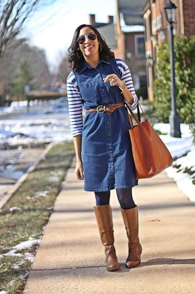 Chambray dress outfit inspiration for fall