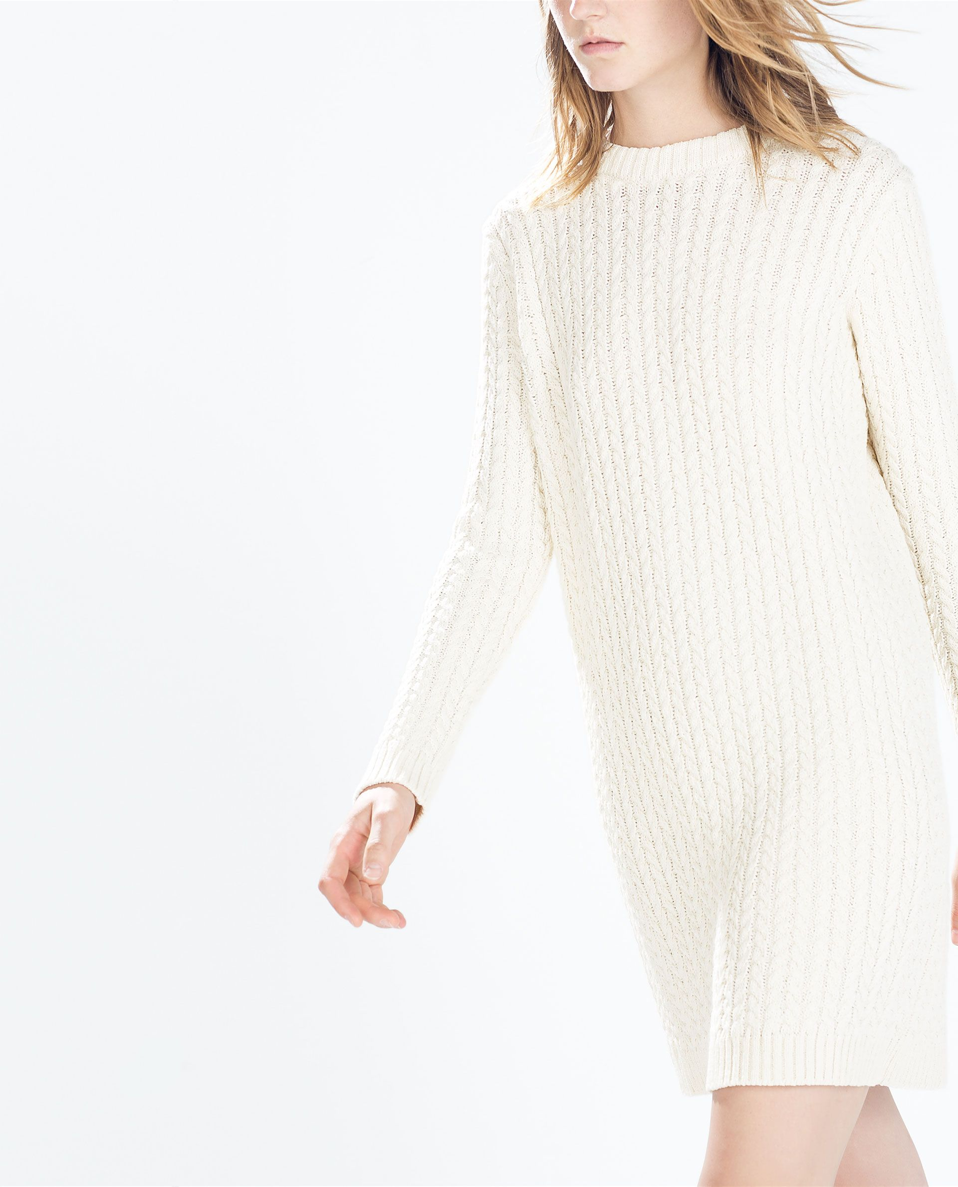 4a5852d79e Image 2 of LONG-SLEEVED CABLE-KNIT DRESS from Zara