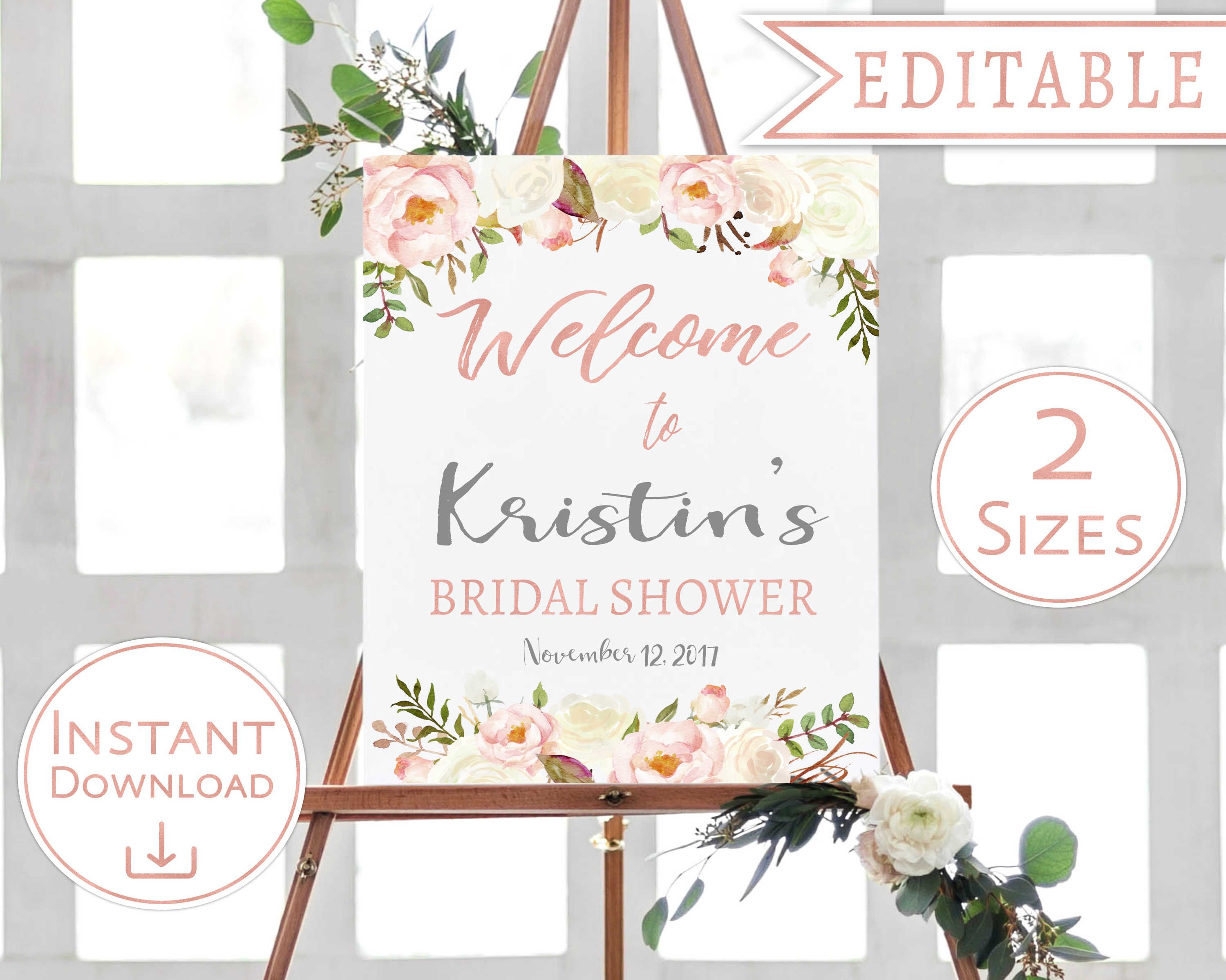 Unlimited Blush Pink /& Navy Shower Sign Floral Printable Card Wedding 5x7 100/% EDITABLE Text Custom Signs Template 8x10 Birthday
