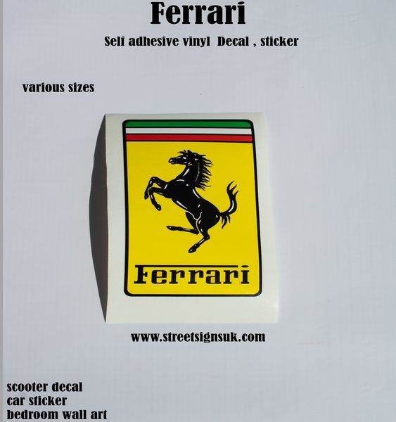 Ferrari self adhesive vinyl decal . sticker , wall art comes in ...