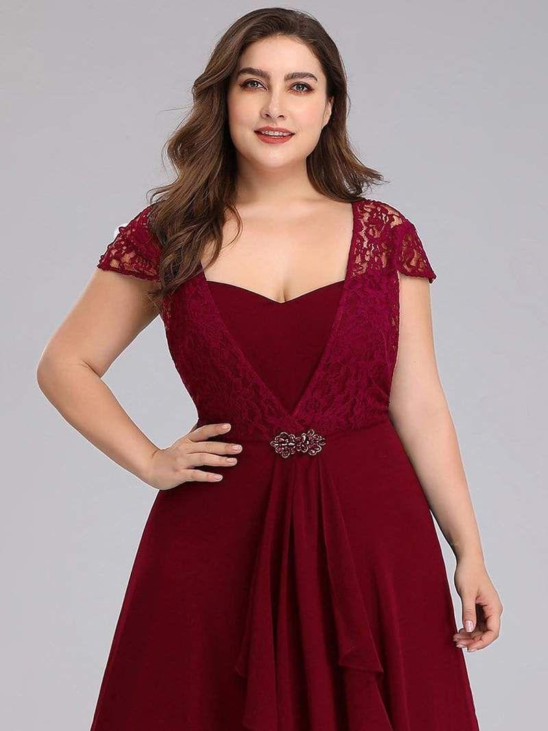 Plus Size Cap Sleeve Floral Lace Bodice Maxi Evening Dress ...
