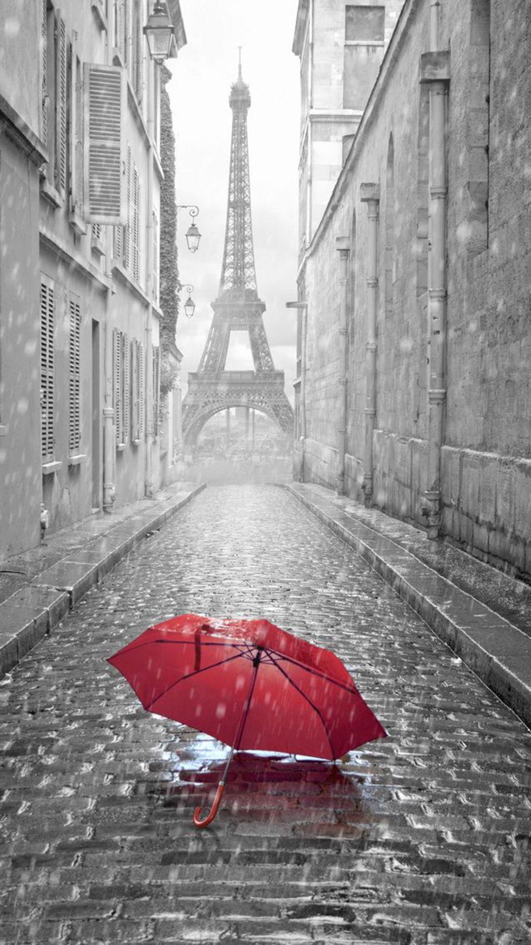 Wallpaper iphone umbrella - Red Umbrella Paris Street Rainy Day Eiffel Tower Iphone 6 Wallpaper