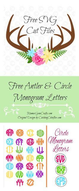 Floral Deer Antlers U0026 Circle Monogram Letters.