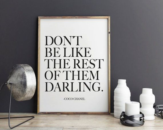 Darling Coco Chanel Quote Fashion Print Art Wall Ilration Typography Decor