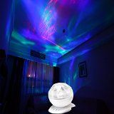 Soaiy® SY-NL04 Colorful Led Night Light   Realistic Aurora Borealis Star Ocean Water Wave Light Projector Lamp, 45 Degree Rotation, with MP3 iPhone iPod Speaker, Great Natural Sleep Aids, Perfect for Infant, Baby, Kids, Children, Toddler, Girls, Boys, Adults as Sleeping Light, Decorative Light in Bedside, Bedroom, Living Room, Bathroom, Baby Room, Kids Room, Nursery (White)