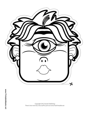Female Cyclops Mask to Color Printable Mask, free to