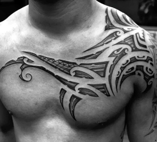 50 Tribal Chest Tattoos For Men Masculine Design Ideas Tribal Chest Tattoos Collar Bone Tattoo For Men Mens Shoulder Tattoo
