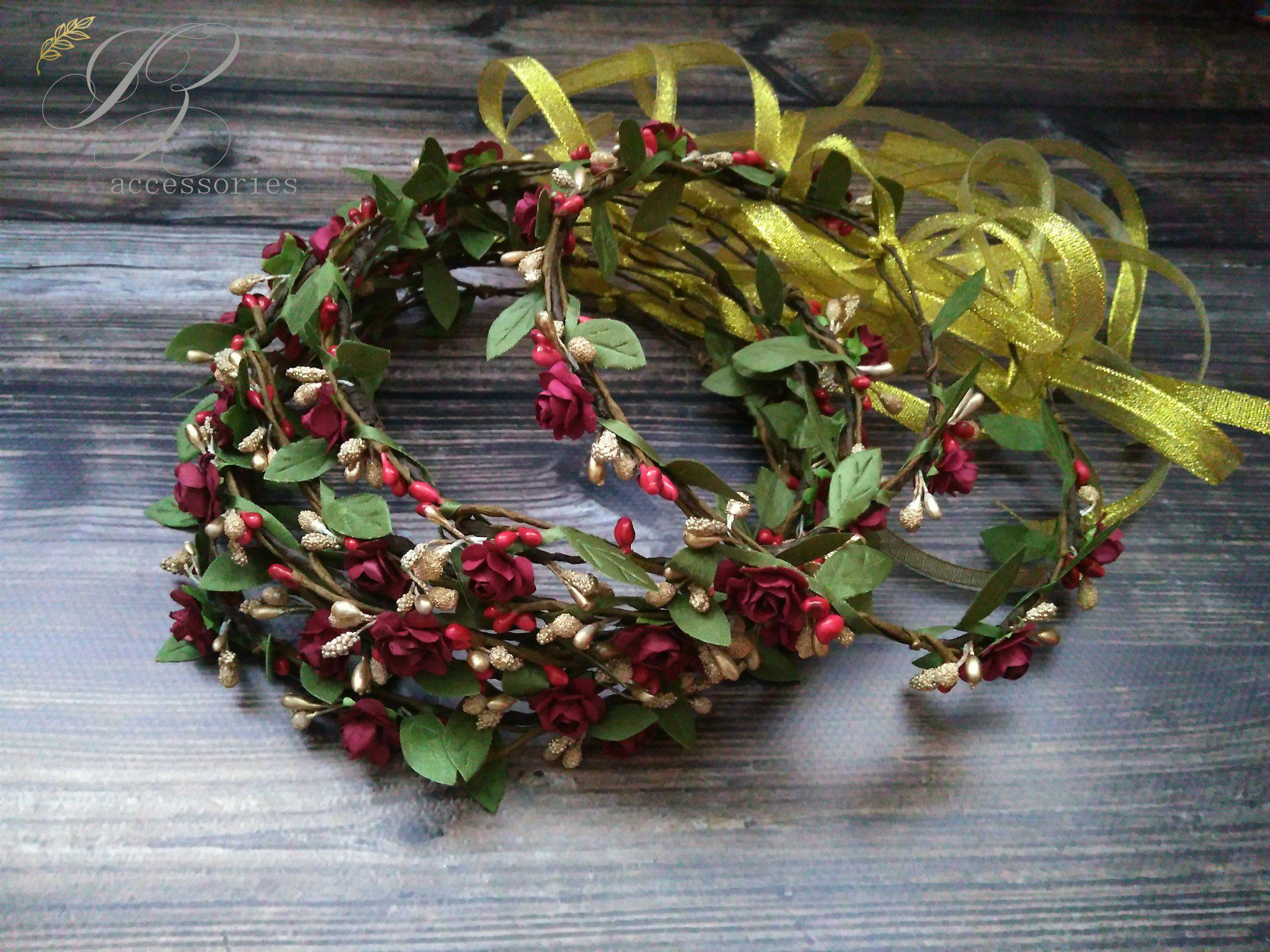Burgundy gold flower crown wedding rose hair wreath bridal