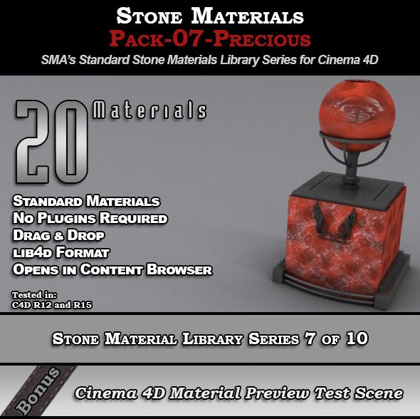 Standard Stone Material Pack-07-Precious for C4D     c4d