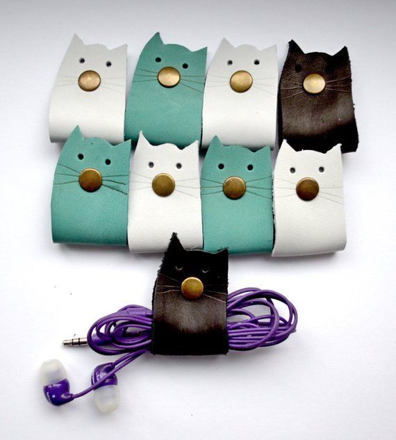 cord holder cat сord organizer cat cable wrap organizer for travel cat earbud holder cat lover gift cord wrap earphone organizer