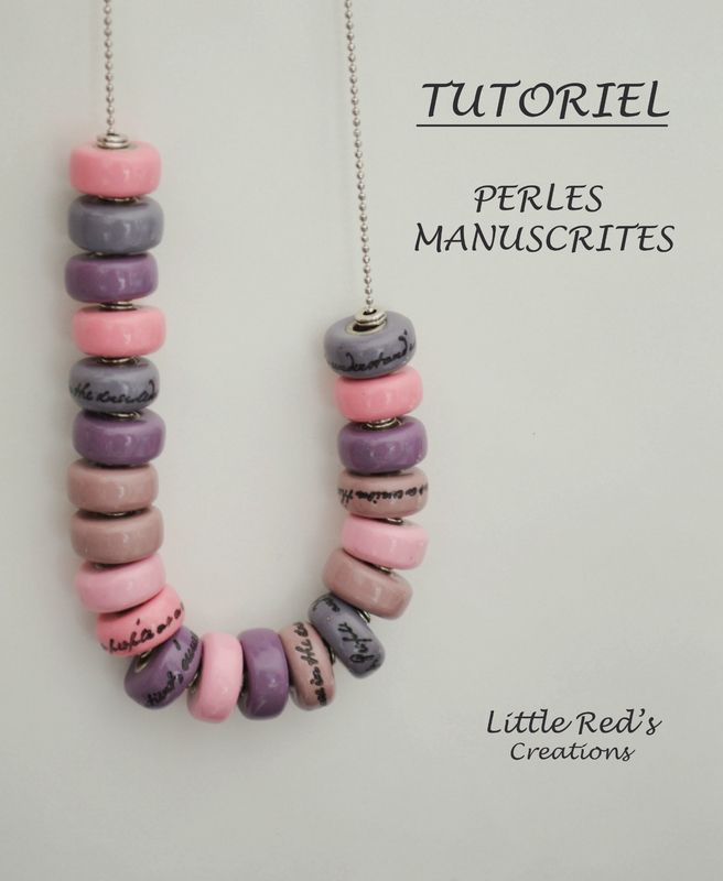 Script rondelle beads from polymer clay tutorial | by LittleRed [TUTORIEL] Perles manuscrites