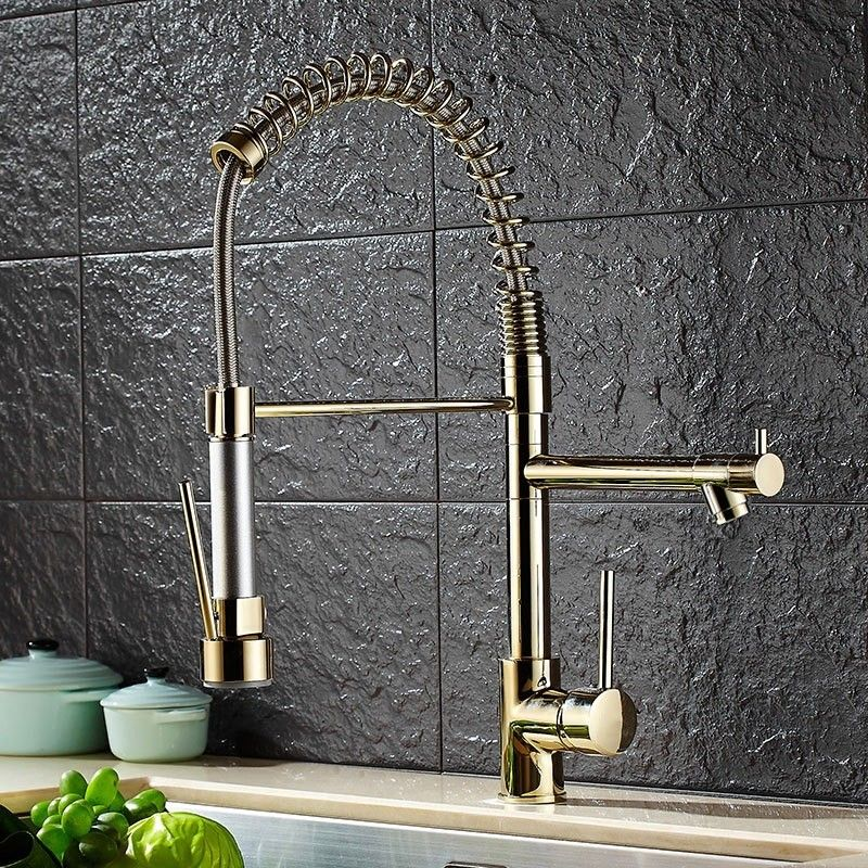 $129.99 Luxury Single Hole Pull Out Spring Sprayer Dual Spout Kitchen Faucet Solid Brass in Gold