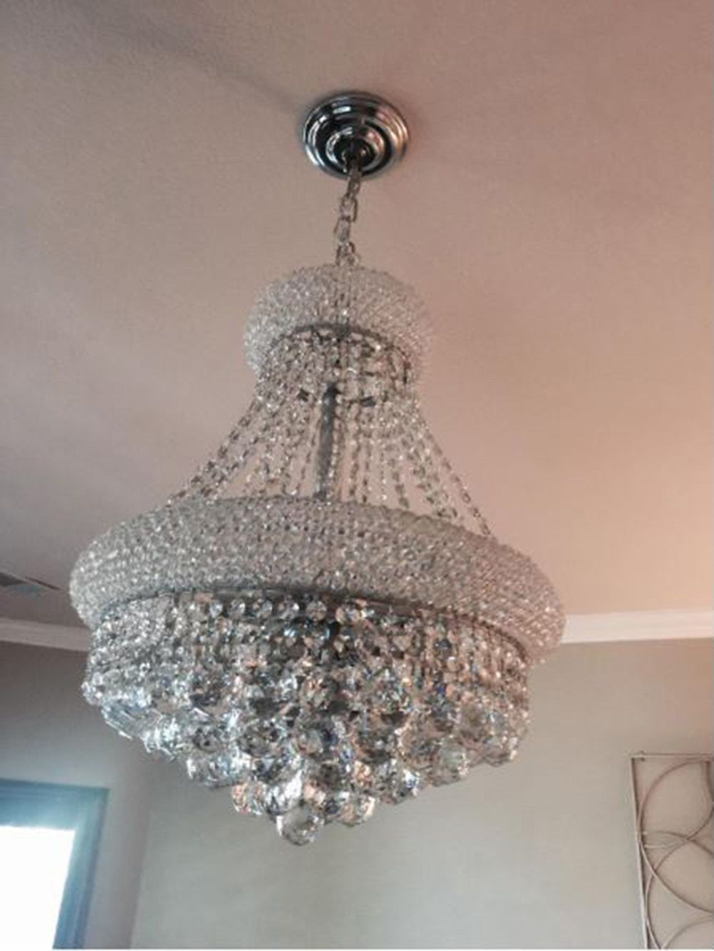 """SALE French Empire Primo Crystal Chandelier 8 Light Chrome Finish 16x20/"""" Mini"""