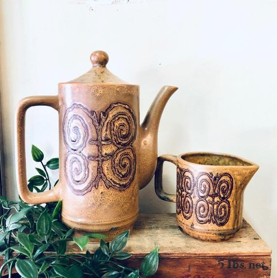 Tea Service Set, Vintage Tea Pot, Vintage Creamer, Ceramic Teapot, Made in Japan, Brown Teapot, Coffee Pot, Tea Set, Vintage Home Decor #teapotset