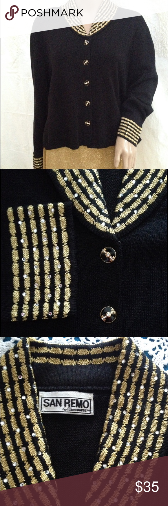 Vintage San Remo Laura Knits Black Gold Cardigan 90% acrylic, 10 ...