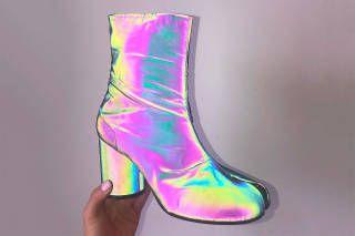c3c32ec23e7c4 Maison Margiela Reflective Tabi Ankle Boots Iridescent Holographic Fall  Winter 2018