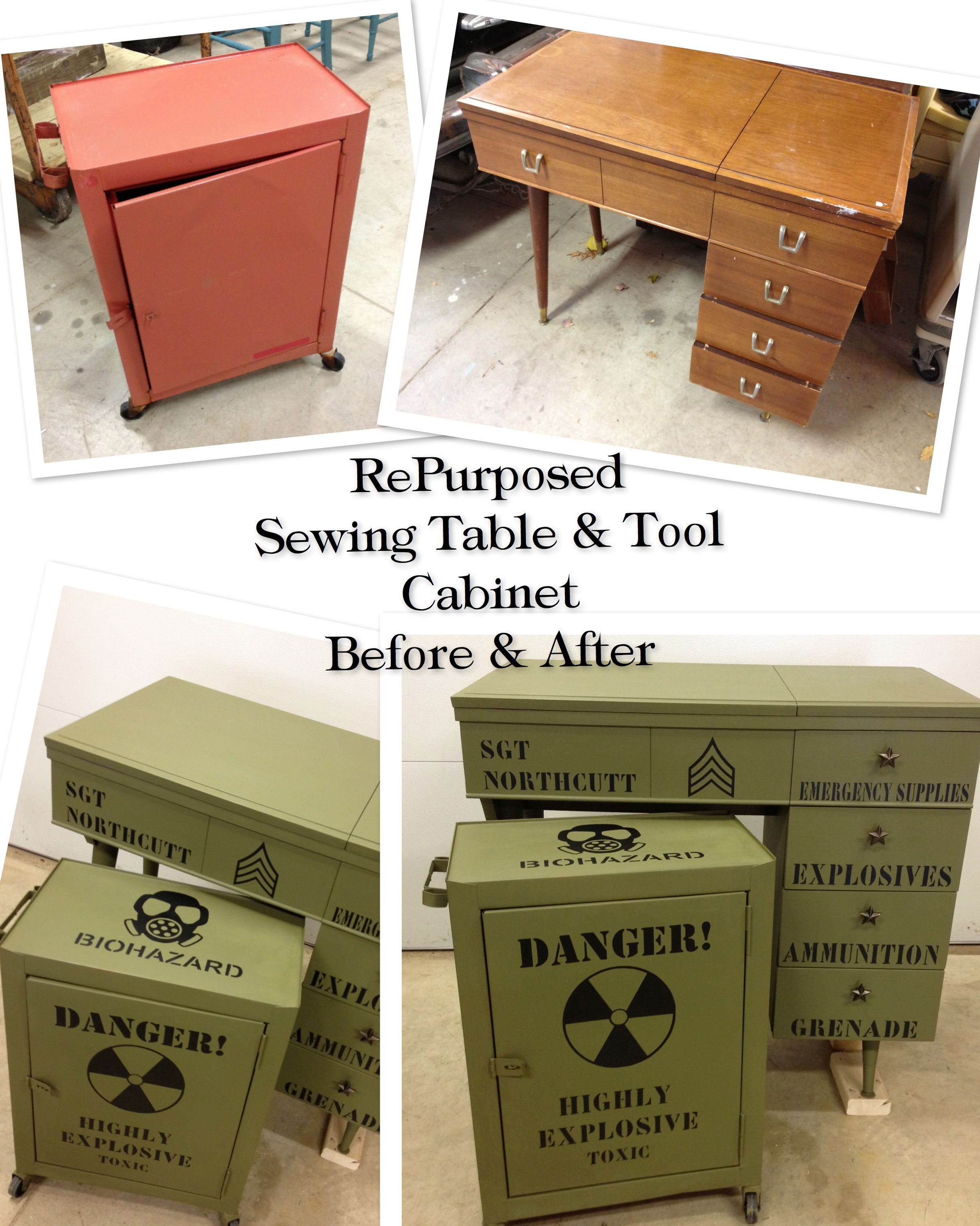 RePurposed Dated Sewing Machine Cabinet And Rolling Tool