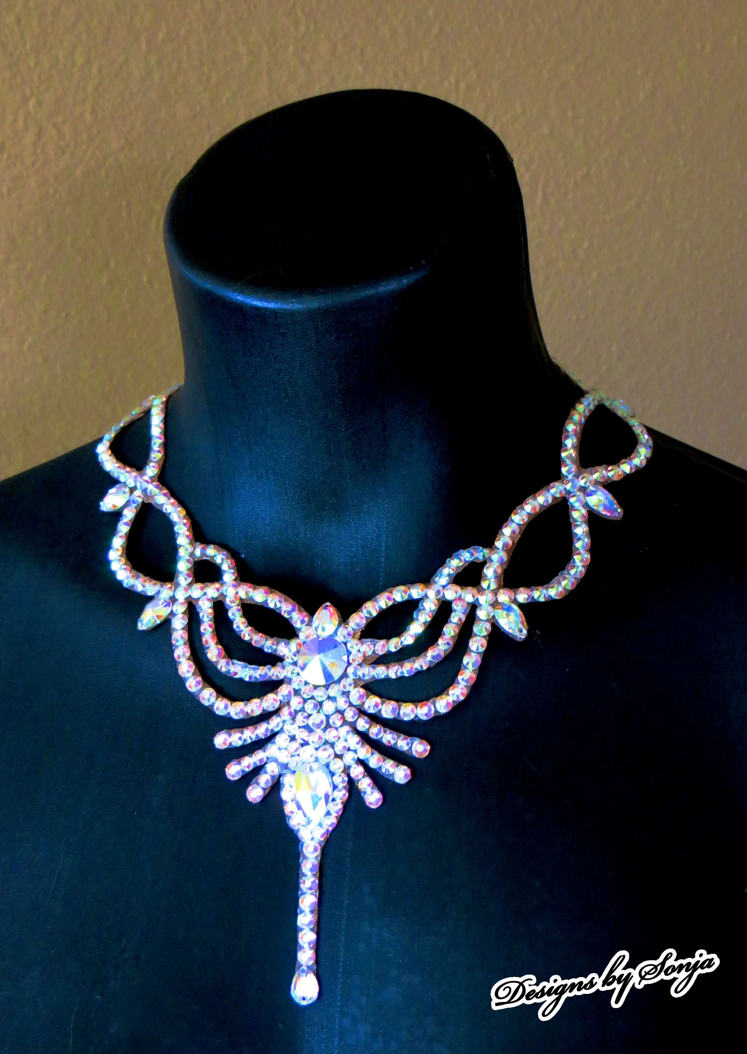 Ballroom jewelry dancesport necklace designed and created by Sonja