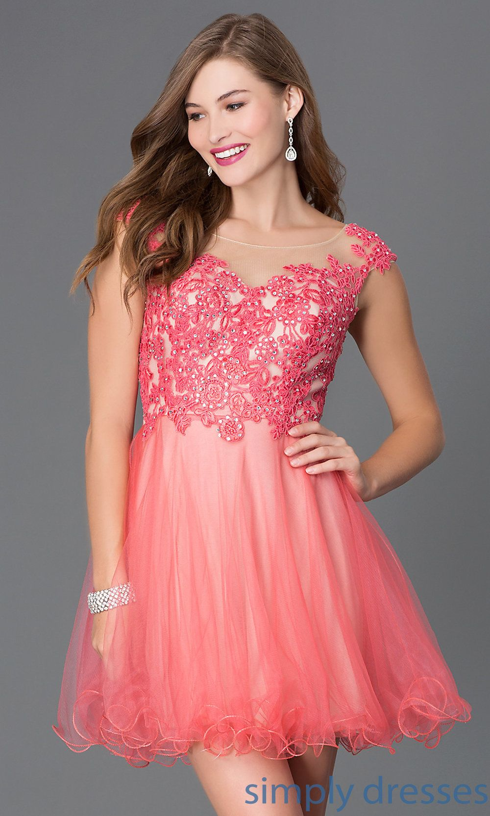 Short Coral-Pink Illusion-Lace Baby Doll Dress