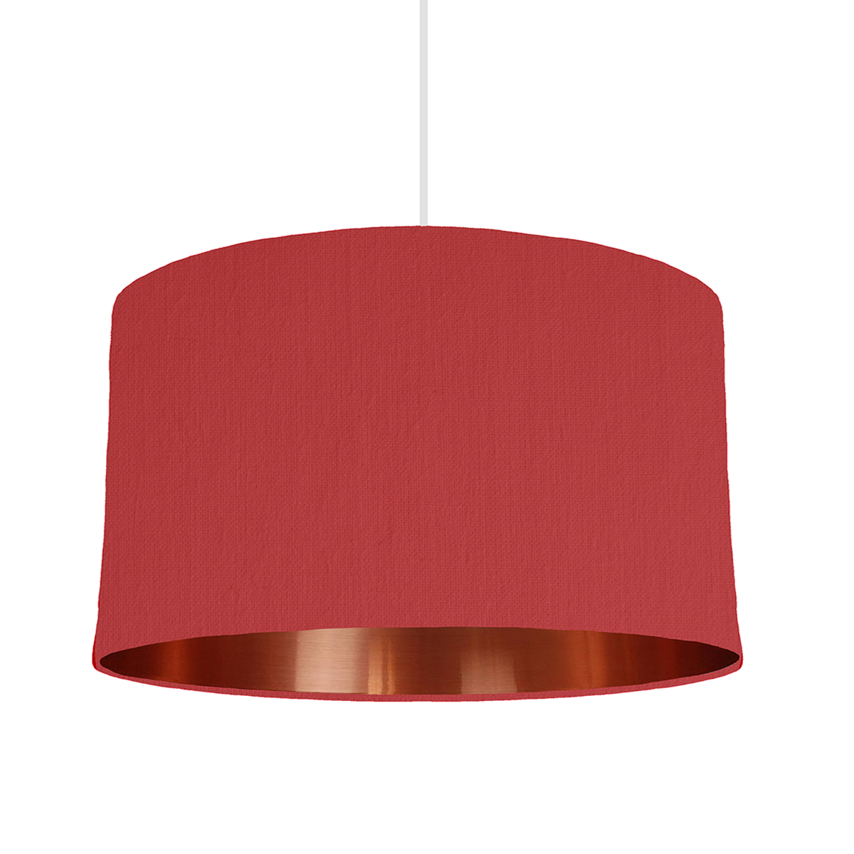 50 cm wide lampshade in red fabric with copper mirrored inside bymarie is a bespoke lampshade designer based in london specializing in custom made lampshades with mix match lining colours aloadofball Image collections