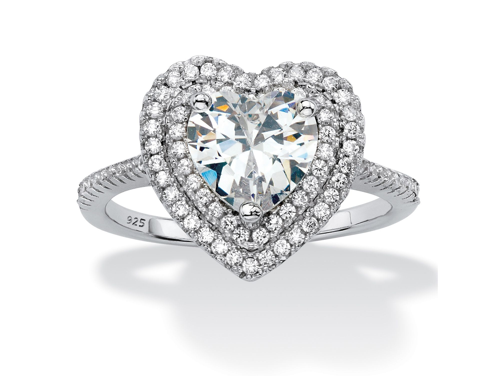 Heart Shaped Cubic Zirconia Halo Engagement Ring 1.48 TCW