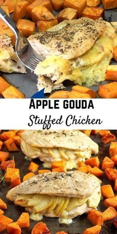 Creamy Gouda cheese and sweet apples make these stuffed chicken breasts a winning recipe! Pair with smoky roasted sweet potatoes for a sheet pan supper that will make everyone happy. #dinner #chicken #sweetpotatoes  Creamy Gouda cheese and sweet apples make these stuffed chicken breasts a winning recipe! Pair with smoky roasted sweet potatoes for a sheet pan supper that will make everyone happy. #dinner #chicken #sweetpotatoes #sheetpansuppers Creamy Gouda cheese and sweet apples make these stuf #sheetpansuppers