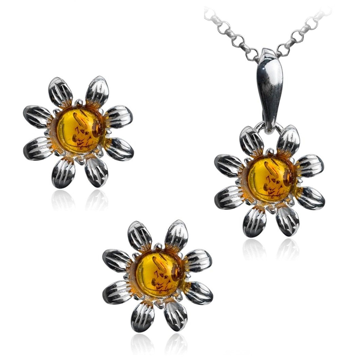 Amber sterling silver round flowers stud earrings pendant set chain