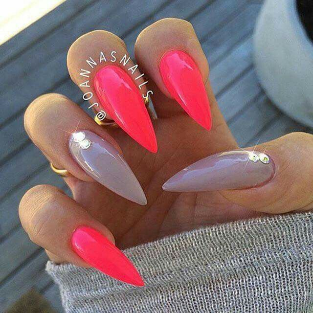 Gel Rosa Fluo Nails Nails Stiletto Nails Pointy Nails