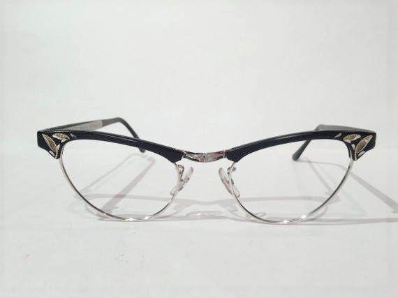8fdda08e2ab9 Vintage 50s Black Browline Cat Eye Etched Aluminum Eyeglass ...