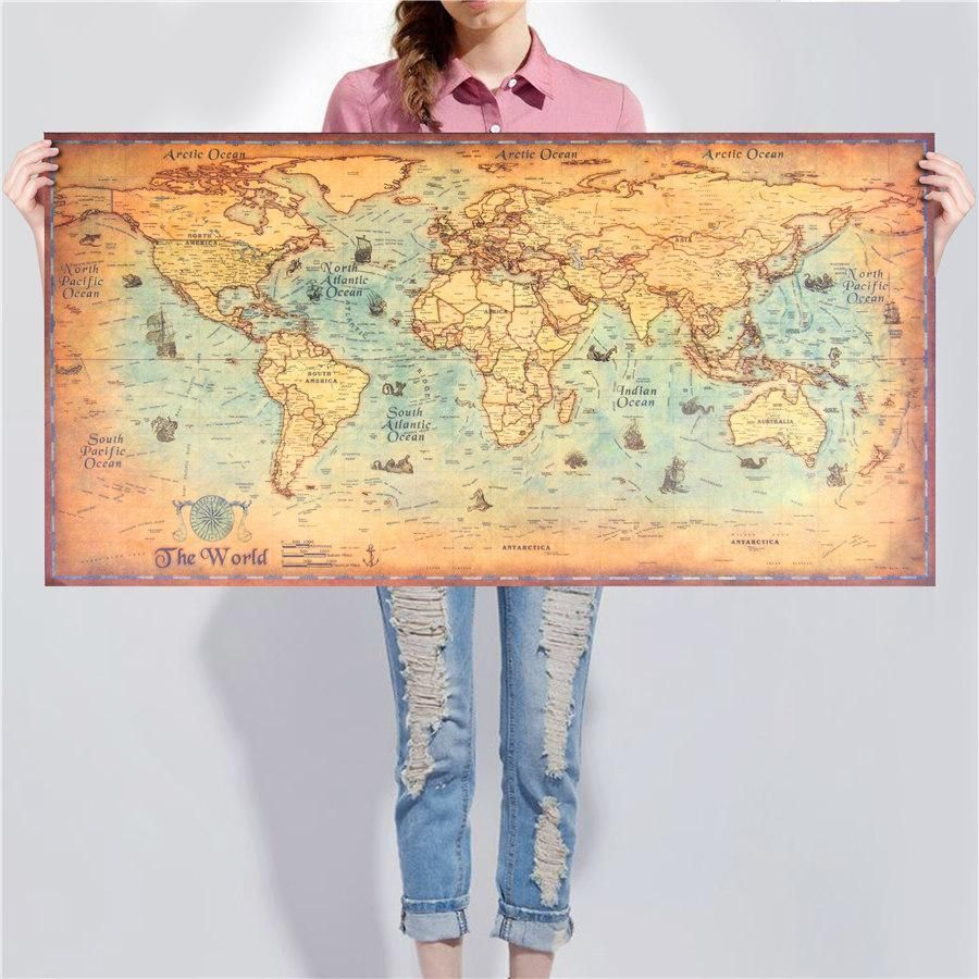 Limited Time Offer 75 Off A Beautiful Vintage Style Nautical World Map Poster Very Decorative For Any Room With Images Retro Poster Vintage World Maps World Map Poster