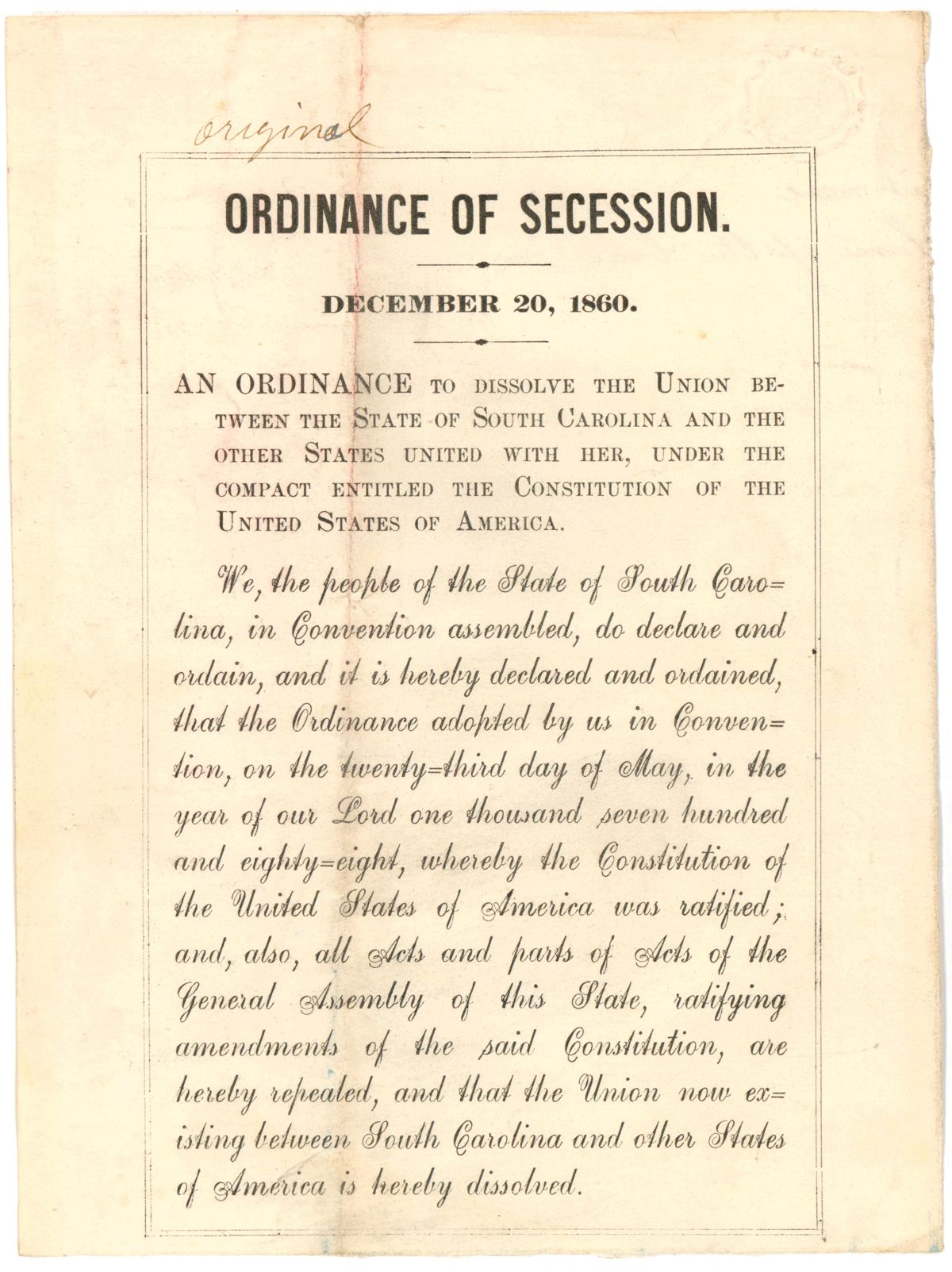 South Carolina Handbill Of The Ordinance Of Secession