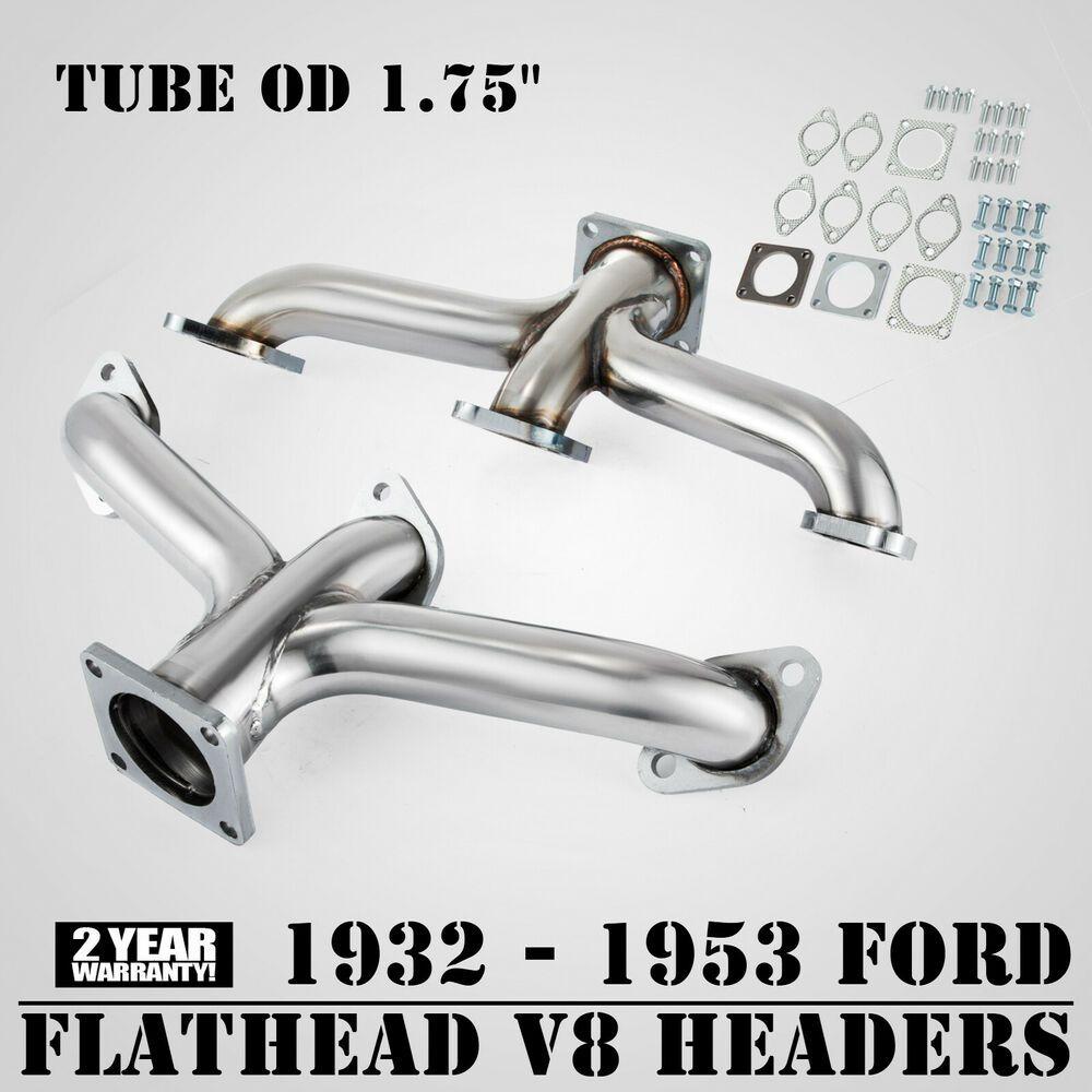 1932-1953 Ford Car Truck Flathead V8 Shorty Center Dump CERAMIC Exhaust Headers