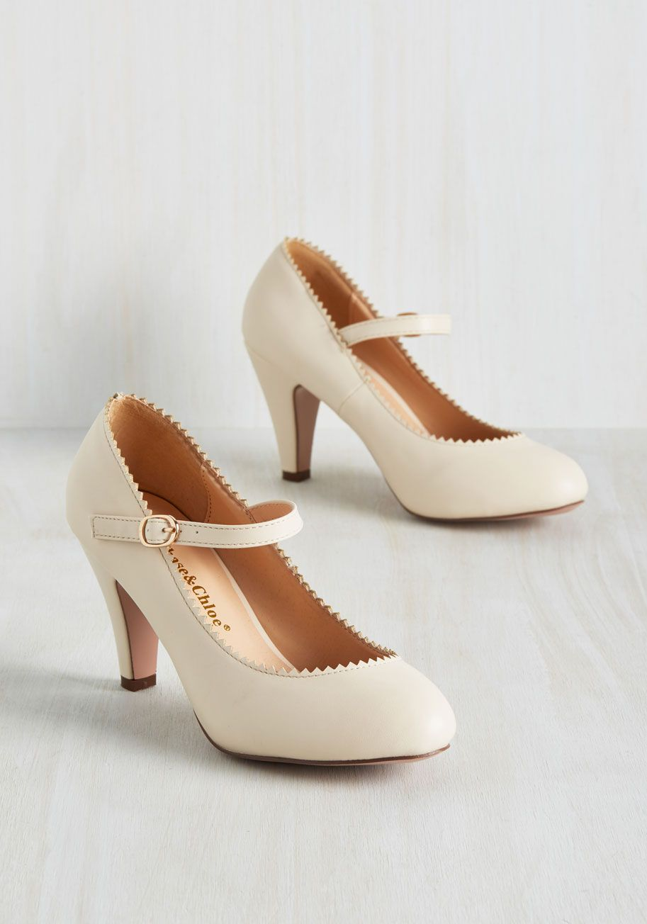 9f35ac5042d2be Romantic Revival Heel in Creme - Cream