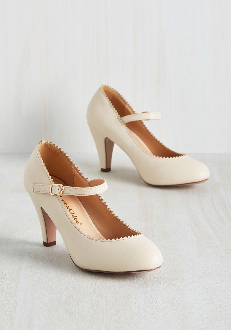 ba7382d60703 Romantic Revival Heel in Creme - Cream
