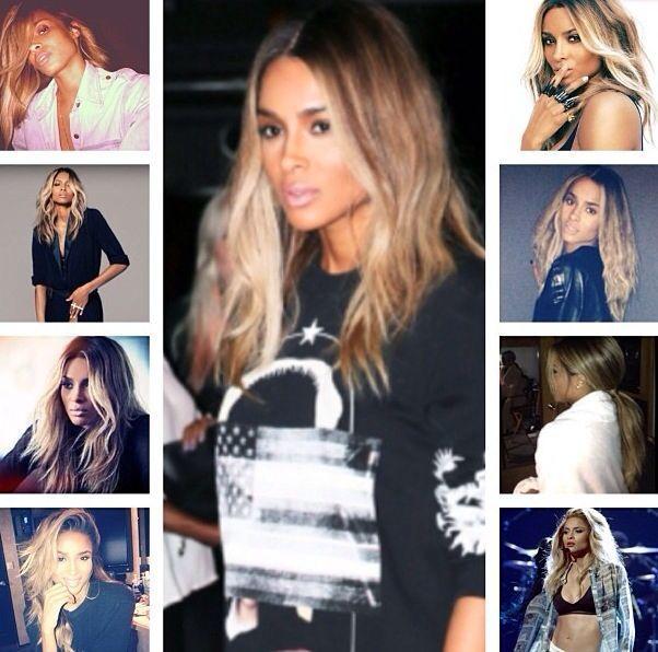 Ciara caramel blonde mid length hair #mittellangeröcke