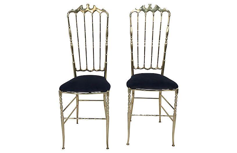 Italian Brass Chiavari Chairs   Set Of 2   Salmagundi