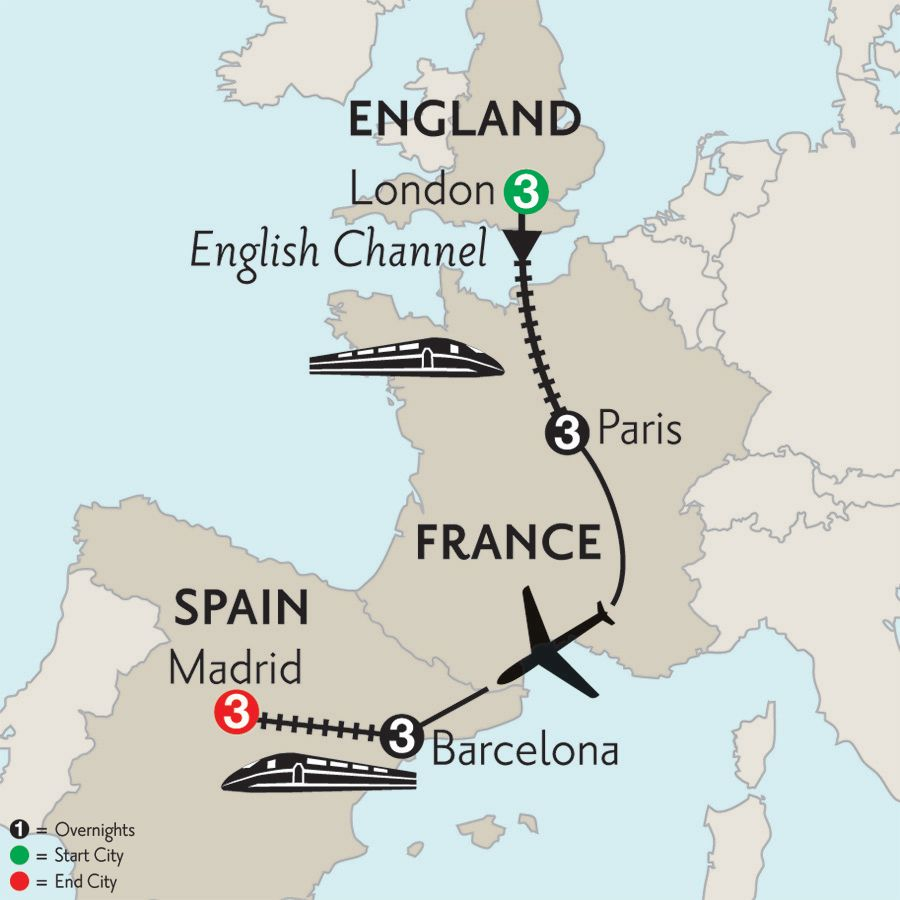 Monograms Tours London Paris Barcelona Madrid Tour Map