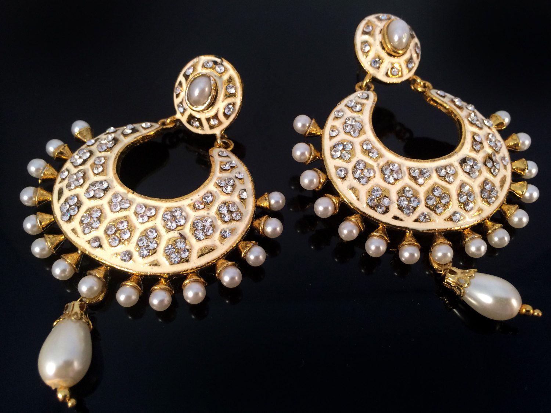 White gold chandelier earring kundan earringswhite and gold white gold chandelier earring kundan earringswhite and gold crystal earringsindian jewellery aloadofball Images