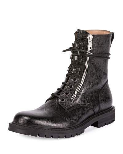 5d6983403469 DRIES VAN NOTEN Men S Leather Side-Zip Combat Boot