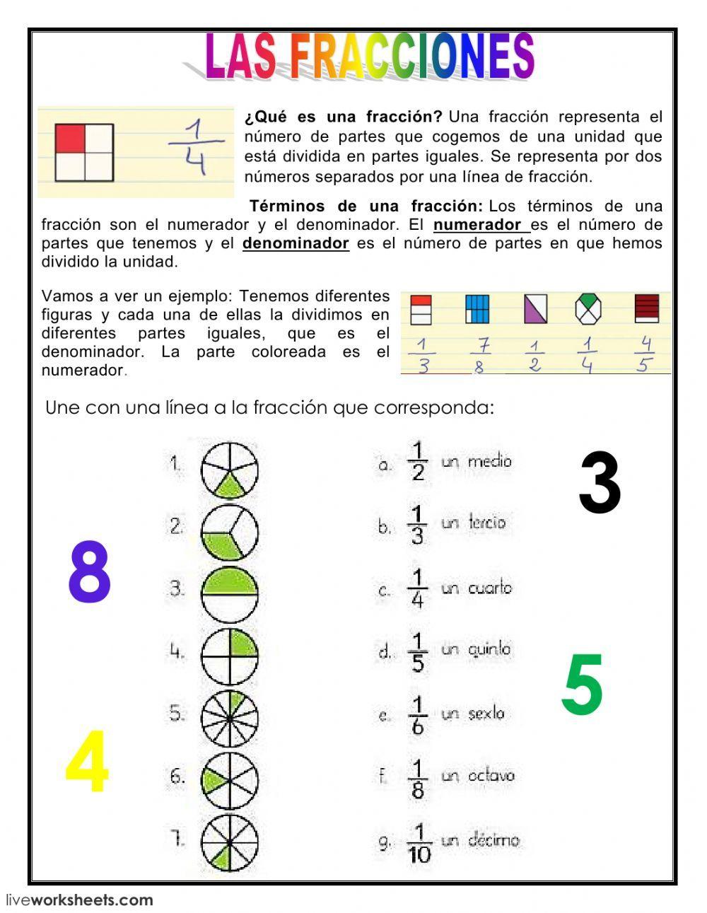 Fracciones Ficha Ejercicios Interactivos De Matematicas Fracciones Para Primaria Fracciones